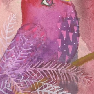 Watercolour painting. CFA010 Songbird. Artist: Caroline Furlong