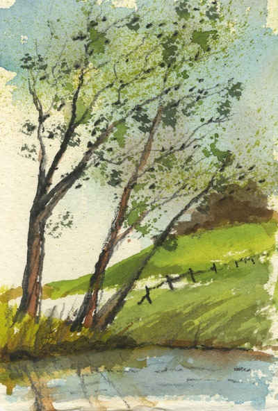 Watercolour painting. CFA015 Windy Landscape. Artist: Caroline Furlong