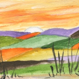 Watercolour painting. GNA002 Layered Sunset. Artist: Gillie Newcombe