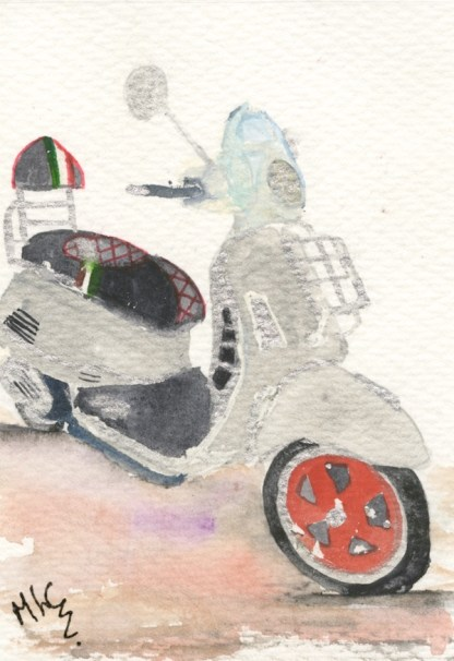 Watercolour painting. MCA031 Vespa. Artist: Margot Cornish