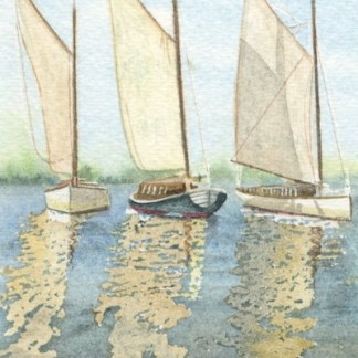 Watercolour painting. MCO002 Norfolk Wherries. Artist: Mel Collins