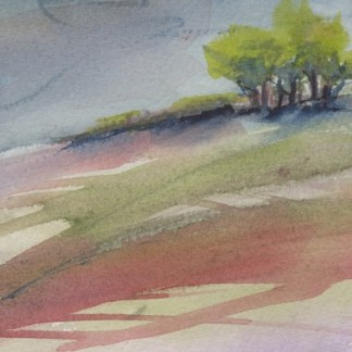 Watercolour painting. RWB0343 Up the Hill. Artist: Vandy Massey
