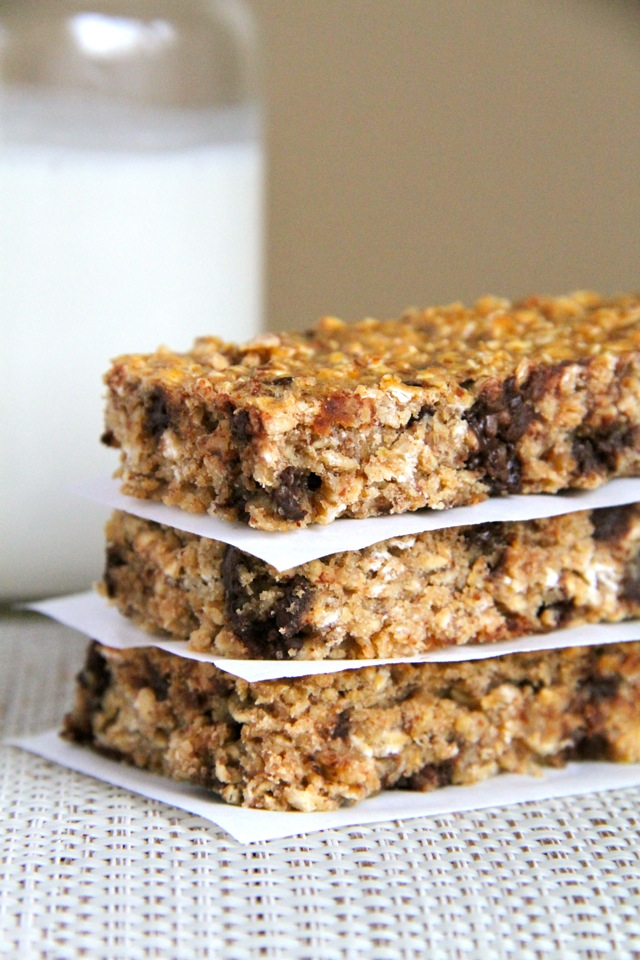 Soft And Chewy Protein Granola Bars Running With Spoons