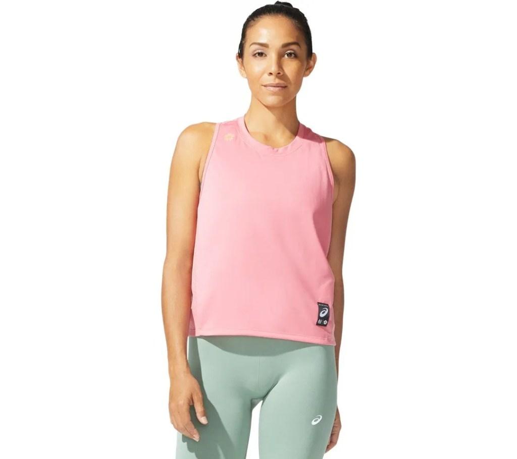 Hardloopshirt tanktop singlet roze dames Asics