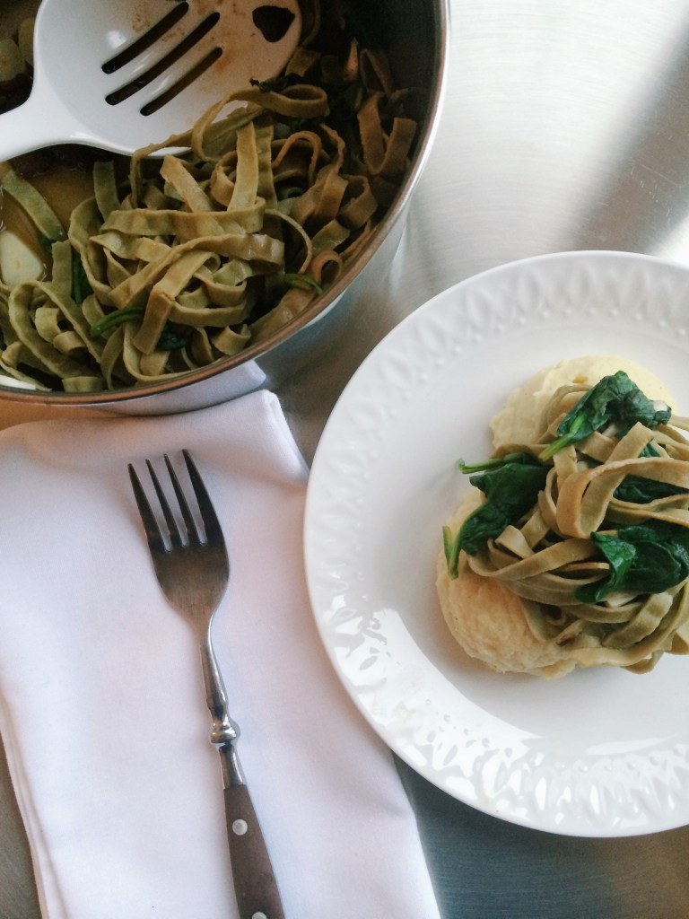 Mung Bean Pasta with fresh lemon and basil