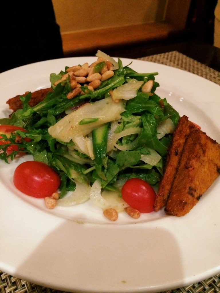 ARTICHOKE-ASPARAGUS SALAD  Baby arugula, fennel, grape tomatoes, pine nuts, tarragon-lemon dressing add on Chili Tempeh