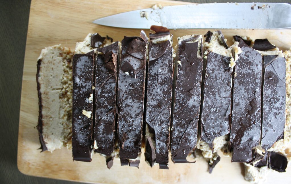 Three Layer Caramel Ice Cream Bars (date sweetened and vegan)