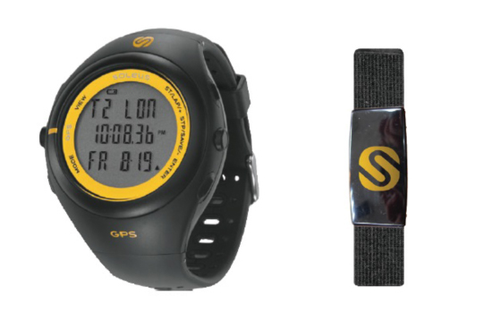 Soleus GPS 3.0- Comes in Black/Sol (left), Fabric Heart Rate Monitor Chest Strap (right)
