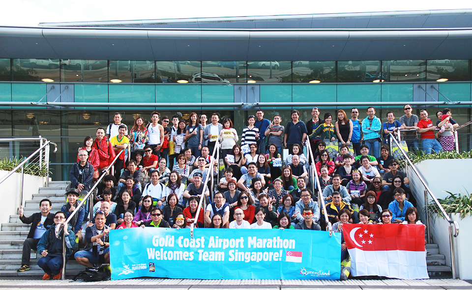 Team Singapore at the Gold Coast Convention Center after the race pack collection.
