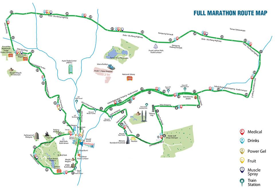 Standard Chartered Marathon KL 2014: 42km Route Map.