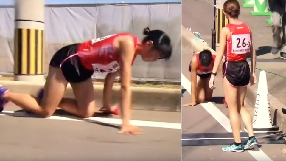 This 19 year old Japanese female runner broke a leg during a relay marathon. But she still completes the race.