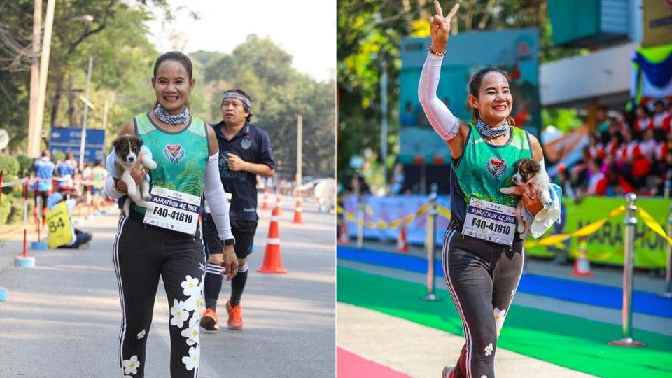 Female marathoner runs 30km rescuing a lost puppy