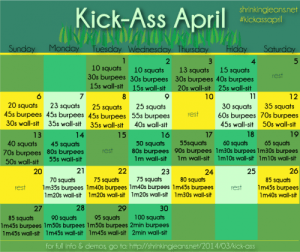 30 Day Challenge: Kick Ass April From Sisterhood of the Shrinking Jeans