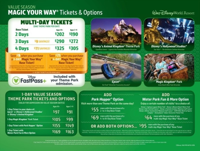 Walt Disney World 2016 Park Ticket Pricing Changes Value