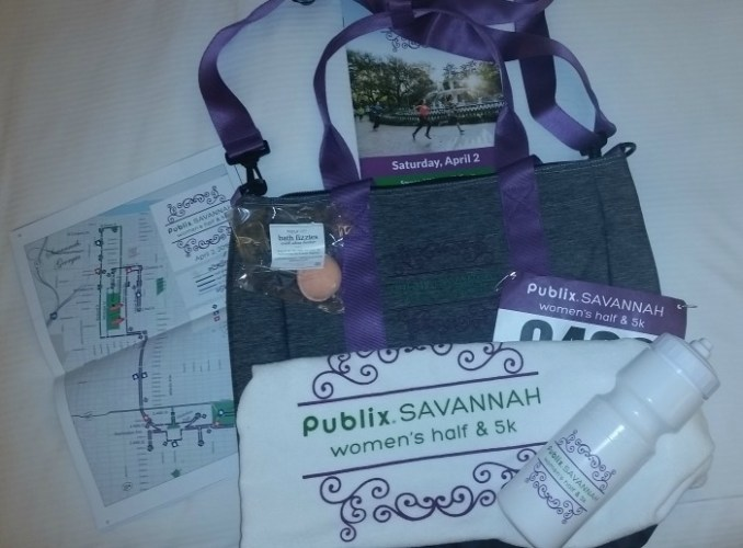 Yep, 5k and Half participants got the same bag from New Balance and Publix was handing out Towels and Water Bottles. Shout out to Nourish for the bath salt ball!
