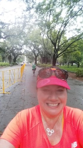 Just after outrunning the random motorcycle cop, approaching the finish area in Forsyth Park.