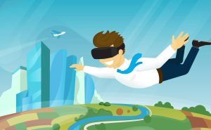 Happy guy is flying in the sky using head-mounted device for virtual reality