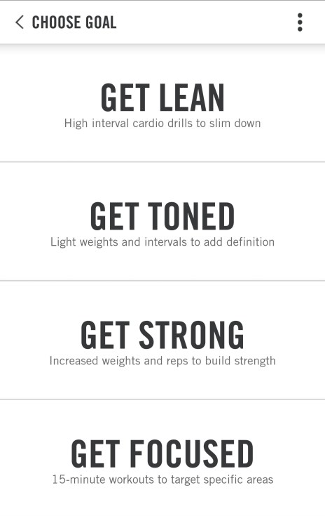 Nike Training Club Workout Options
