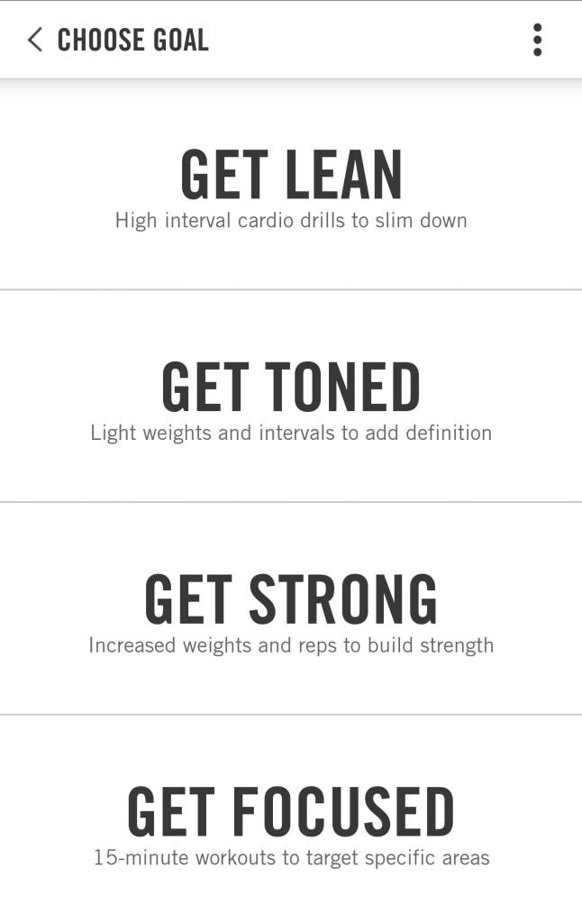 Nike Training Club Workout Options