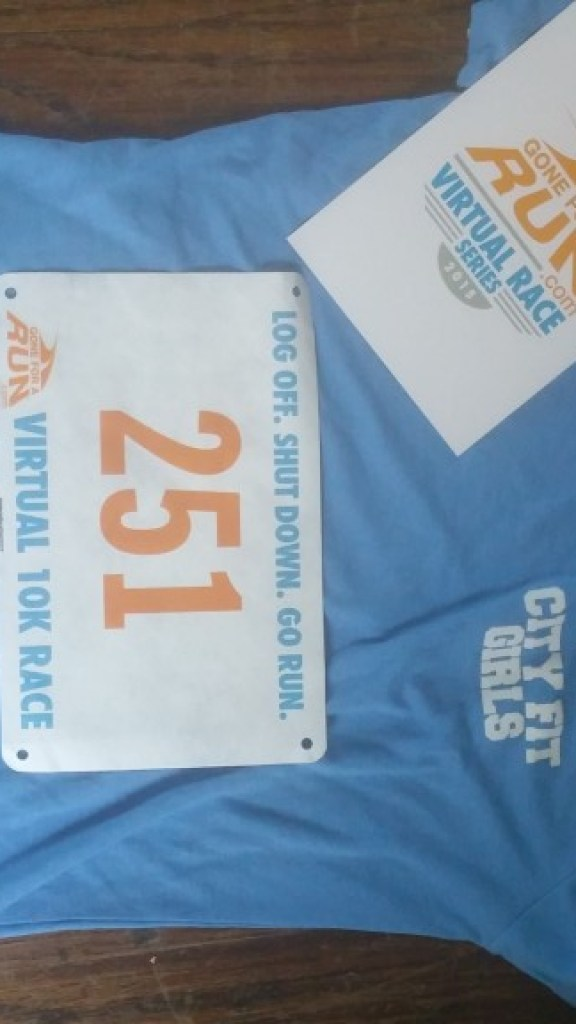 My bib for the Gone for a Run Virtual 10K