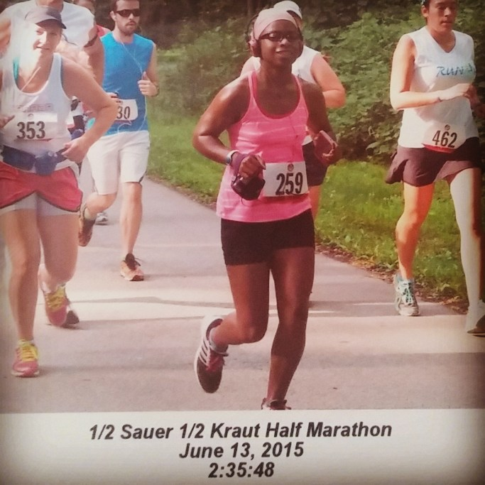 One of my official race photos from the 1/2 Sauer 1/2 Kraut Half Marathon!