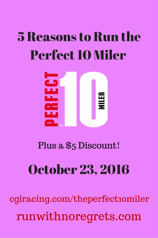 Find out why you should sign up for the Perfect 10 Miler! Plus get $5 off registration for the Perfect 10 Miler solo, bosom buddy relay, or daughter dash with PERFECT10JANELLE! Races are 10/22-23!