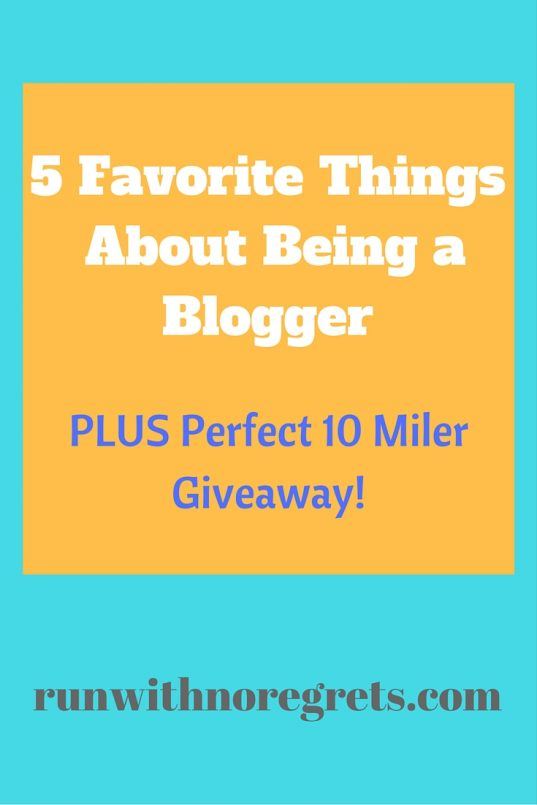 In honor of my 3rd blogiversary, I'm sharing the 5 best things about being a blogger! Check out what I've learned along the way PLUS find out how to win a free entry to the Perfect 10 Miler in NJ on October 22, 2016! Check out more running love at runwithnoregrets.com!