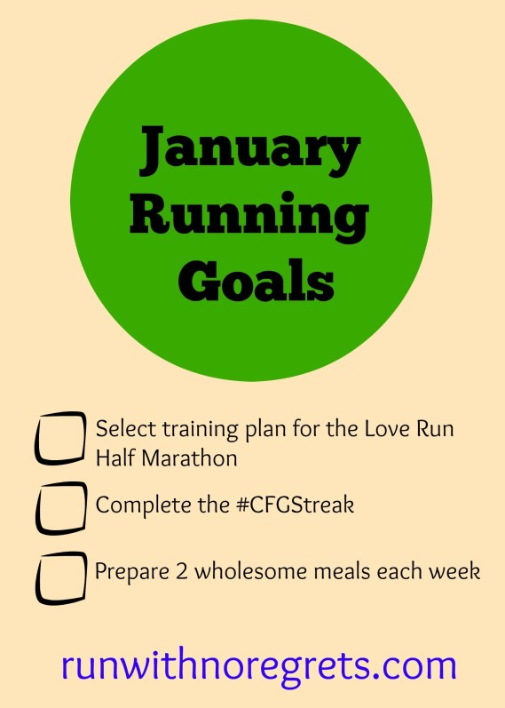 Sharing my running, health and fitness goals for January! Check them out and more running tips at runwithnoregrets.com!