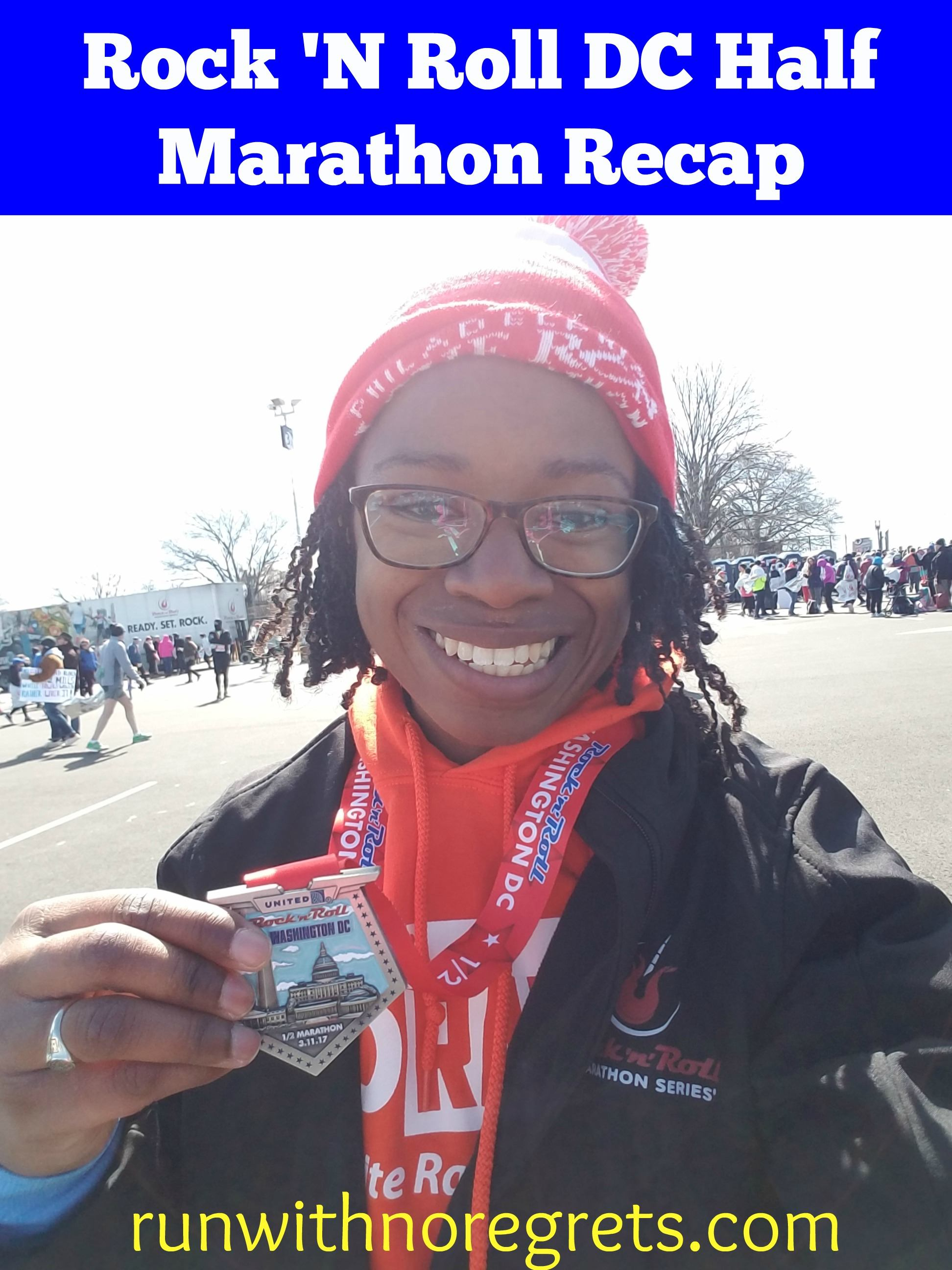 Check out my recap of the Rock 'N Roll DC Half Marathon - it's a great race, but definitely a challenging course! Find more race recaps at runwithnoregrets.com!