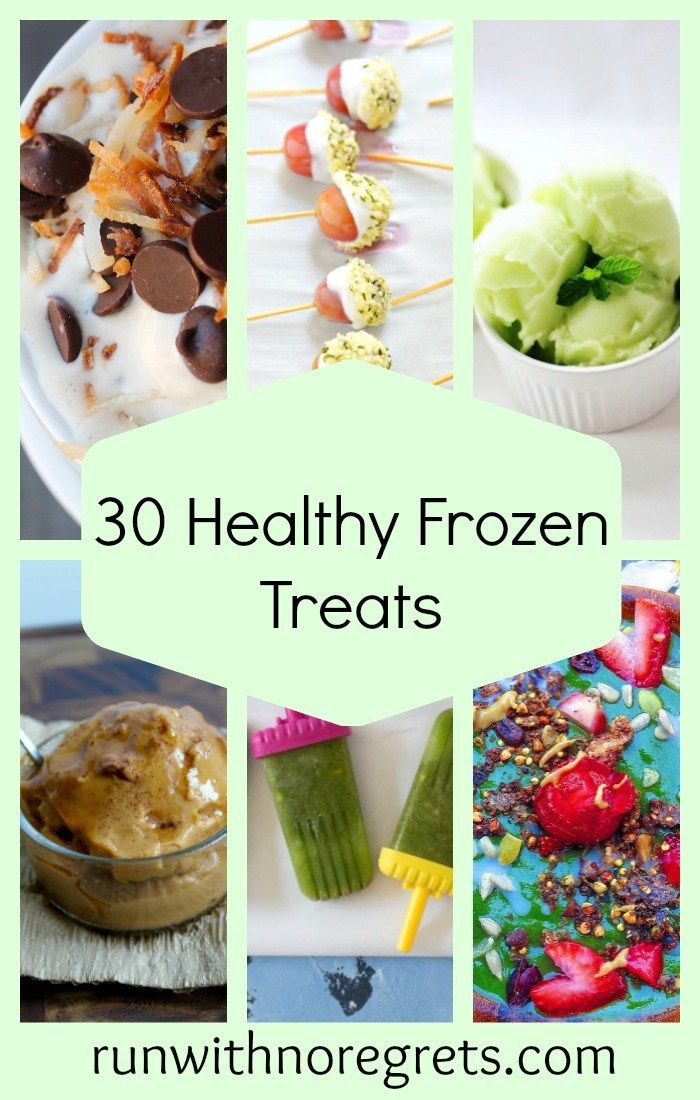If you're looking for some cool, refreshing treats that won't add on the pounds, check out this roundup of 30 healthy and delicious treats including ice cream, frozen yogurt, popsicles and more! Including dairy-free and gluten-free options! More healthy recipe roundups at runwithnoregrets.com!