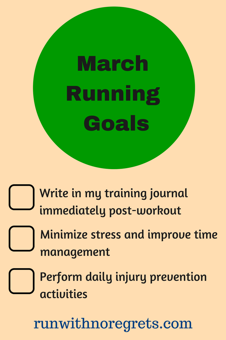 I'm sharing my running goals for the month of March! Check out more running fun at runwithnoregrets.com!