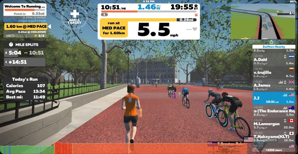 zwift virtual run