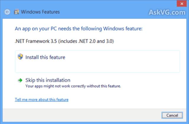 حل مشكلة الدوت نت على ويندوز8 بدون اتصال بالإنترنت 2