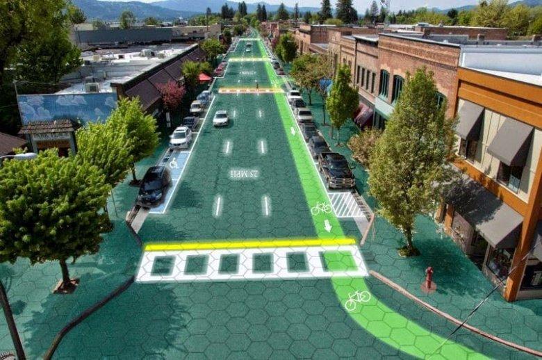 طرق تنتج الطاقة الشمسية تضيء و تتفاعل مع السيارات 1