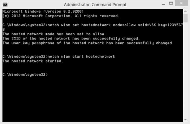 تشغيل اعدادات توزيع الإنترنت من موجه الأوامر CMD