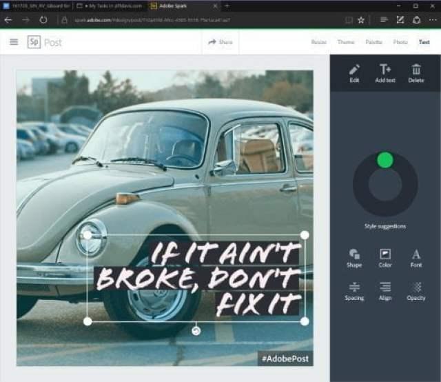 Adobe Spark : أدوبي سبارك آداة مجانية لتعديل الصور و الفيديو أونلاين 3