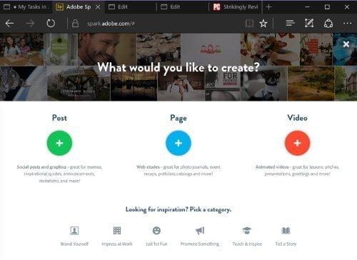 Adobe Spark : أدوبي سبارك آداة مجانية لتعديل الصور و الفيديو أونلاين 2