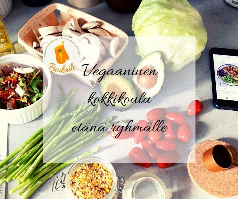 Ruokailon vegaaninen kokkikoulu ryhmälle on osallistava, ympäristöystävällinen, paikkaan sitomaton ja hyödyllinen tapa kasvattaa yhteishenkeä ja hyvinvointia tiimissänne.