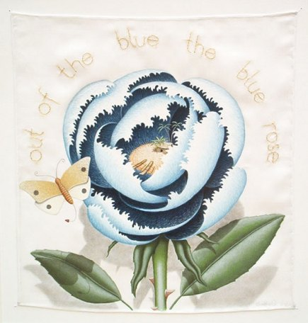 Out of the blue the blue rose 12 x 12 ins Guache on Silk