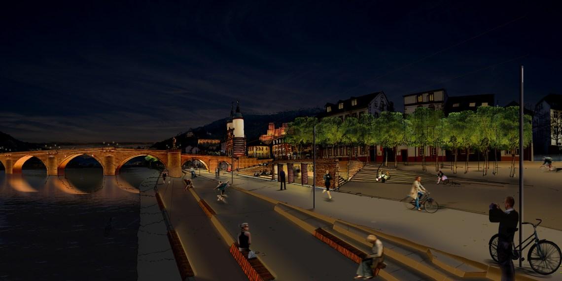 Es könnte doch so schön sein! Abendliches Flanieren am Neckar, hier aus dem Siegerentwurf des Architektenwettbewerbes 2009. Bild: Stadt Heidelberg