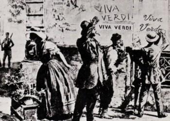 """Der Ausruf """"Viva Verdi"""" als doppeldeutiges, politisches Graffito. Bild: WikimediaCommons/Unknown"""