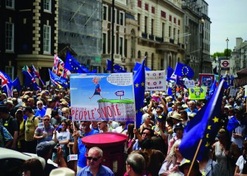 Die Kontroverse des Brexit ist überall zu spüren. Ilovetheeu, People's vote on Brexit march, London, June 23, 2018 23, CC BY-SA 4.0