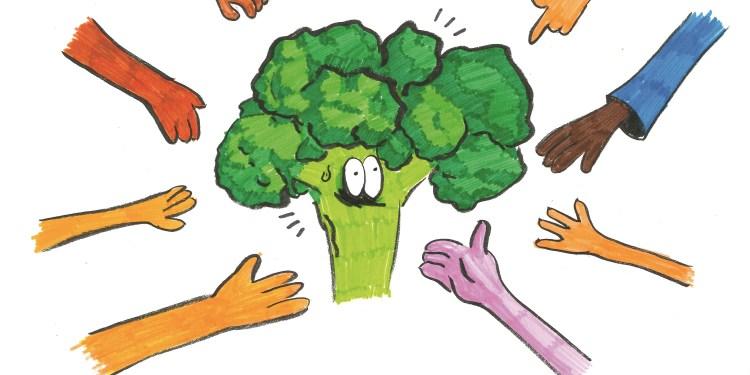 Die Lebensmittel beim Foodsharing sind begehrt. Zeichnung: Bérénice Burdack