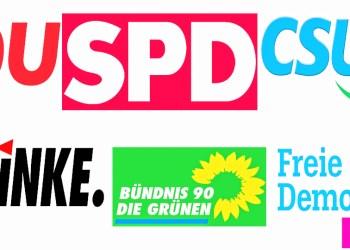 Die Logos der Parteien. Grafik: zef