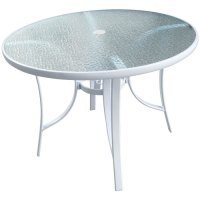 "40"" Round White Glass Top Patio Table"
