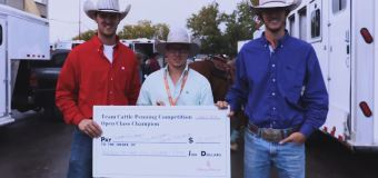Armstrong-Thorlakson combo coral first place at Team Cattle Penning: Open Class.