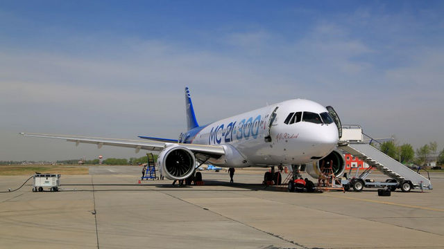 The MC-21-300 is a single-aisle passenger airliner