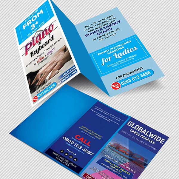 A4 Tri Folded Leaflet printing with C fold or Z fold Free delivery included