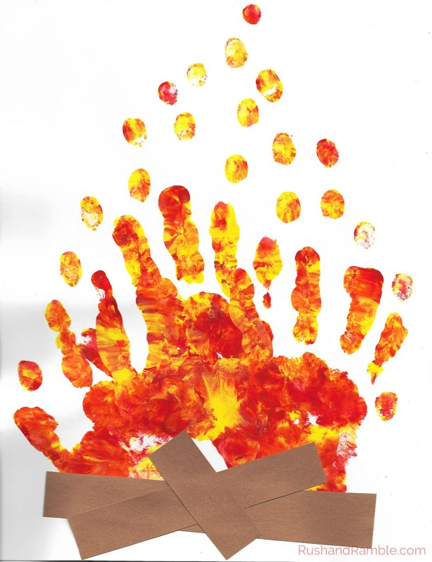 Handprint Campfire Painting - Rush & Ramble