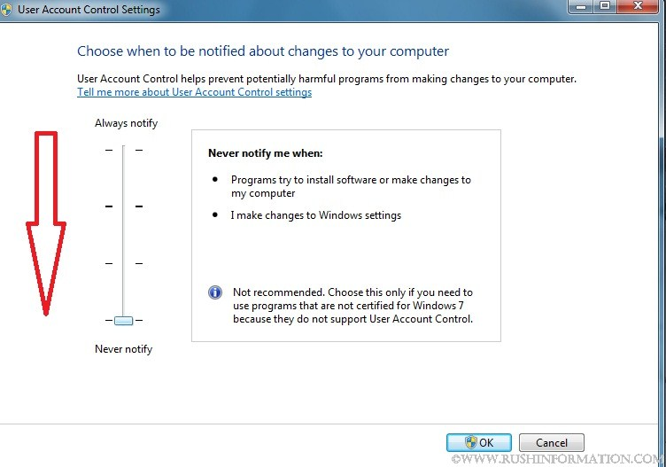 windows 7 change uac